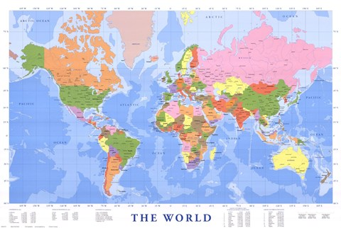 Map Of The World Mercator Projection Wall Poster By