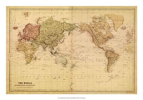 Map of the World mercator projection Fine Art Print by Vision