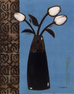 White Flowers Black Vase I