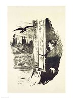 Illustration for 'The Raven', by Edgar Allen Poe, 1875