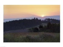 Panoramic view of a sunrise, Oregon, USA
