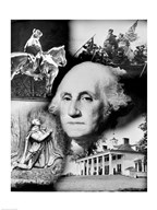 George Washington's face superimposed over a montage of pictures depicting American history, USA