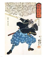 Musashi Miyamoto with two Bokken (wooden quarterstaves)