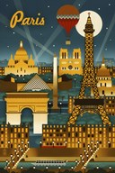 Paris Evening And Balloon  Fine-Art Print