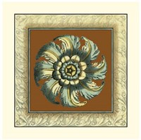 Brown & Blue Rosettes II Giclee
