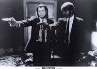 Pulp Fiction Shooting Black and White Wall Poster