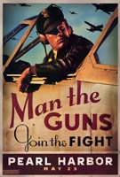 Pearl Harbor Art Deco Man the Guns Wall Poster