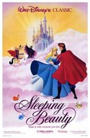 Sleeping Beauty Dancing on Clouds with Prince Charming Wall Poster