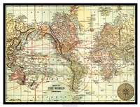 World Map with black border Fine-Art Print