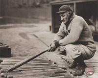 Honus Wagner - In dugout with bats Fine-Art Print