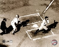 Babe Ruth - Homeplate action, sepia Fine-Art Print