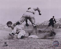 Ty Cobb - Sliding into base, sepia Fine-Art Print