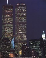 Wtc With Statue Of Liberty Fine-Art Print
