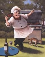 Barbecue Chef with Cat Fine-Art Print