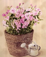 Pink Flowers In Basket With Watering Can Fine-Art Print