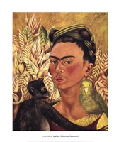 Self-Portrait with Monkey and Parrot, 1942 Fine-Art Print