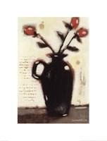 Red Roses in Black Vase I Fine-Art Print
