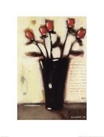 Red Roses in Black Vase II Fine-Art Print