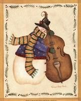Snowman Playing Cello Fine-Art Print
