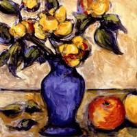 Blue Vase Of Yellow Peonies Fine-Art Print