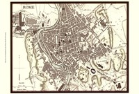 Sepia Map Of Rome Fine-Art Print