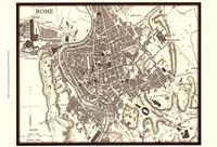 Sepia Map Of Rome Fine-Art Print