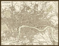 Sepia Map Of London Fine-Art Print