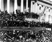 President Abraham Lincoln gives his inaugural speech during his second inauguration on March 4th 1865 Fine-Art Print