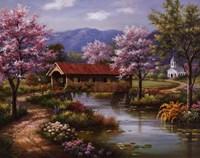 Covered Bridge in Spring Fine-Art Print