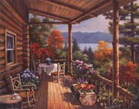 Log Cabin Covered Porch Fine-Art Print