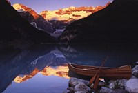 Canoe On Lake Louise Wall Poster