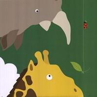 Safari Group: Giraffe and Rhino Fine-Art Print
