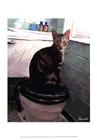 Gray Tiger Cat on the Toilet Fine-Art Print