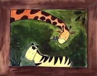 Brown Giraffe and Zebra Fine-Art Print