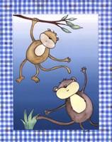 Two by Two Blue - Monkeys Fine-Art Print