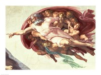 Sistine Chapel Ceiling: The Creation of Adam, detail of God the Father, 1508-12 Fine-Art Print