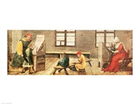 A School Teacher is Explaining the Meaning of a Letter to Illiterate Workers 1516 Fine-Art Print