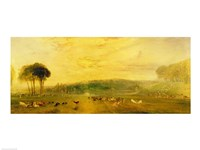 The Lake, Petworth: Sunset, Fighting Bucks Fine-Art Print