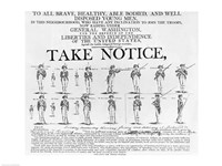 US Army Recruiting Poster Showing Various Positions of a Soldier Under Arms Fine-Art Print