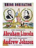 Electoral campaign poster for the Union nomination with Abraham Lincoln Fine-Art Print