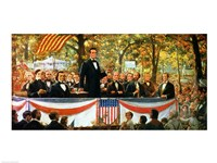 Abraham Lincoln and Stephen A. Douglas debating at Charleston Fine-Art Print