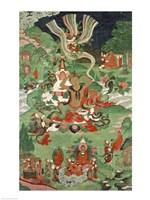 Buddha cutting a tuft of hair, Tibetan temple banner Fine-Art Print