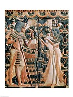 Tutankhamun and his wife Ankhesenamun in a garden Fine-Art Print