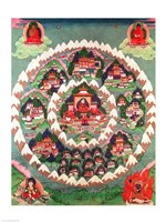The Paradise of Shambhala, Tibetan Banner Fine-Art Print
