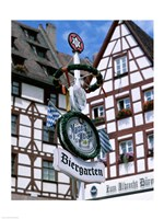Beer Garden Sign, Franconia, Bavaria, Germany Fine-Art Print