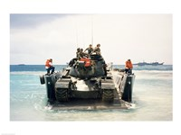 Army soldiers on a military tank in the sea, M551 Sheridan Fine-Art Print
