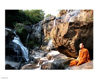 Buddhist Monk In Mae Klang Waterfall Fine-Art Print