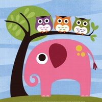 Elephant with Three Owls Fine-Art Print
