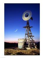 Industrial windmill at night, California, USA Fine-Art Print