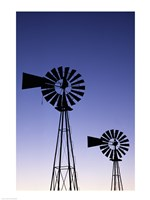 Silhouette of windmills, American Wind Power Center, Lubbock, Texas, USA Fine-Art Print